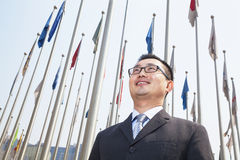Portrait of smiling young businessman with flags Royalty Free Stock Photos