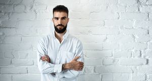 Portrait of smiling young casual bearded man Stock Images