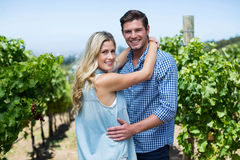 Portrait of smiling young couple embracing at vineyard Stock Images