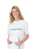 Portrait of a smiling young female volunteer Stock Images