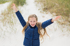Portrait of a smiling young girl at beach Royalty Free Stock Images