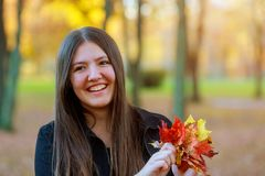 Portrait of a smiling young girl holding in hand a bouquet of autumn maple leaves. Natural light royalty free stock image