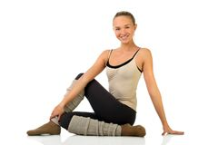 Portrait of smiling young girl practicing yoga Stock Image