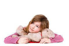 Portrait of a smiling young girl with teddy bear Royalty Free Stock Photography