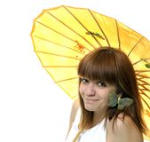 Portrait of a  smiling young   girl  with umbrella Stock Image