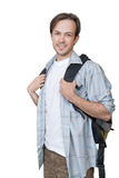 The portrait of smiling young student with backpack Royalty Free Stock Image