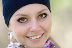 Portrait of a smiling young woman. Close-up Stock Image