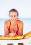 Portrait of smiling young woman on beach Royalty Free Stock Image