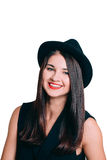 Portrait of smiling young woman in a hat. With red lips make up, isolated on white background stock photos