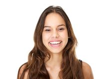 Portrait of a smiling young woman with long hair Royalty Free Stock Photos