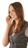 Portrait of smiling young woman with mobile phone Stock Photography