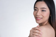 Portrait of a smiling young woman with natural make-up. beautifu Stock Image