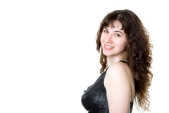 Portrait of a smiling young woman over white Royalty Free Stock Photos