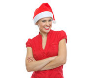 Portrait of smiling young woman in Santa hat Royalty Free Stock Image