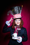 Portrait of smiling young woman in the similitude of the Hatter. Portrait of smilimg young woman in the similitude of the Hatter (Alice's Adventures in royalty free stock photo
