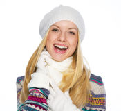 Portrait of smiling young woman in winter clothes Stock Images