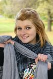 Smilling teen. Portrait of smilling teen outdoors royalty free stock image