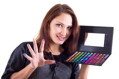 Portrait of smilling woman with eyeshadow Royalty Free Stock Image