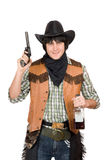 Portrait of smirking cowboy Stock Images