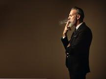 Portrait of smoking gentleman wearing trendy suit Royalty Free Stock Photo