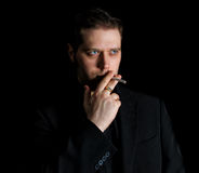 Portrait of smoking man Royalty Free Stock Photography