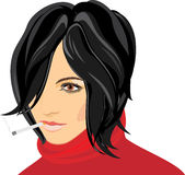 Portrait of smoking woman Stock Photos