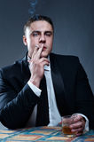 Portrait of smoking young man Stock Photo