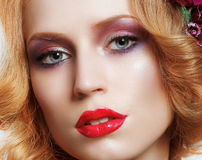 Portrait of Snazzy Enchanting Woman with Bright Make-up. Snazzy Enchanting Woman with Bright Make-up royalty free stock image