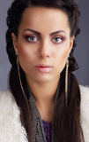 Portrait of Snazzy Fashion Model with Long Earrings. Cute Snazzy Fashion Model with Long Earrings Stock Photos