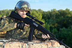 Portrait of sniper Stock Images