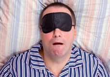 Portrait of a snoring man Stock Images