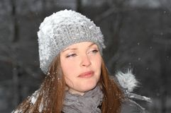 Portrait during snow day Stock Image