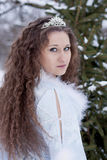 Portrait of the Snow Maiden. Snow Maiden portrait against the green trees stock photography