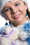 Portrait of Snow maiden with bear toy Stock Photo