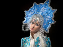 Portrait of a snow maiden Stock Photography