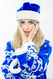 Portrait of a Snow Maiden in a blue suit. Royalty Free Stock Images
