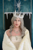 Portrait of snow queen. Sitting on her throne Stock Image