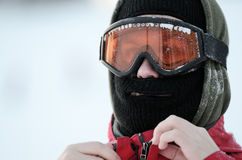 Portrait of a snowboarder in goggles Stock Images