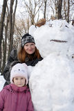 Portrait with snowman Royalty Free Stock Images