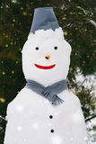 Portrait of a snowman in city park Royalty Free Stock Photo