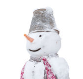 Portrait of a snowman isolated Royalty Free Stock Image