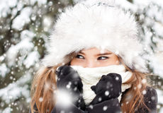 Portrait in snowy weather Royalty Free Stock Photos