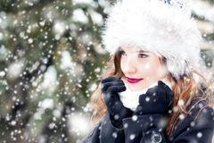Portrait in snowy weather. Portrait of a young beautiful woman in snowy weather Royalty Free Stock Image
