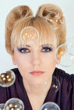 Portrait with soap bubbles Stock Photo