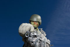 Portrait Of Soldier Aiming Stock Photos