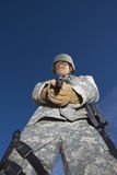 Portrait Of Soldier Aiming Royalty Free Stock Photos