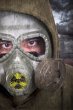 Portrait of soldier with gas mask Royalty Free Stock Image
