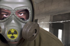 Portrait of soldier with gas mask Stock Images