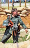 Portrait of a soldier-reenactor. Stock Photos