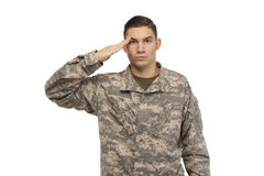 Portrait of soldier saluting Stock Images